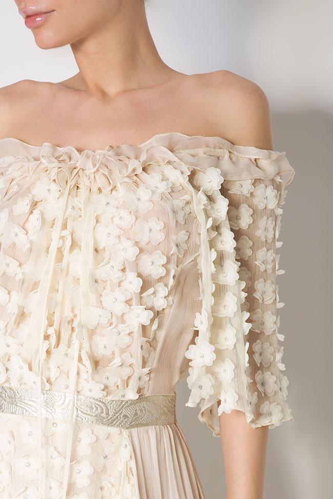 Robe asymétrique en soie, avec des broderies cousues à la main Elena Perseil image 3