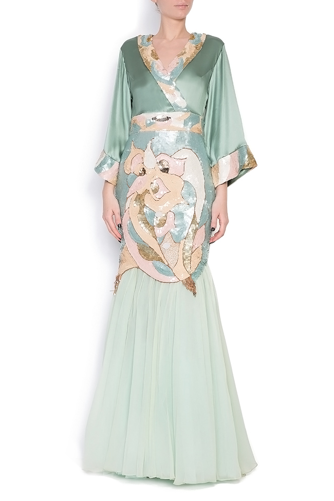 Hand-embroidered sequined silk gown Elena Perseil image 0