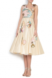 Elena Perseil Embroidered silk taffeta tulle dress