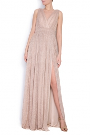 Elena Perseil Arena metallic silk maxi dress