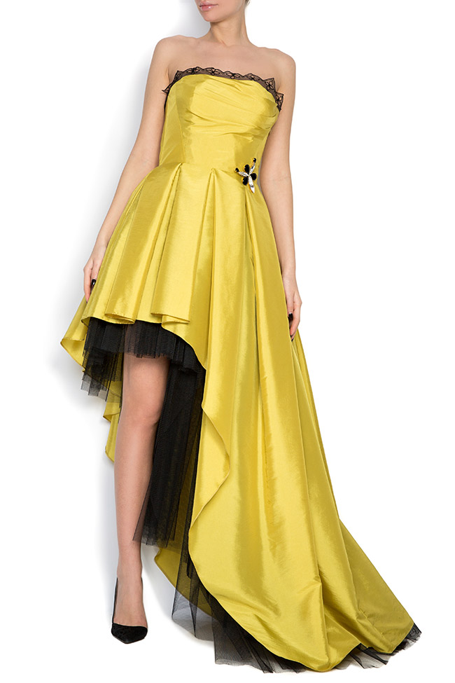Oscar silk taffeta tulle asymmetric gown Elena Perseil image 0