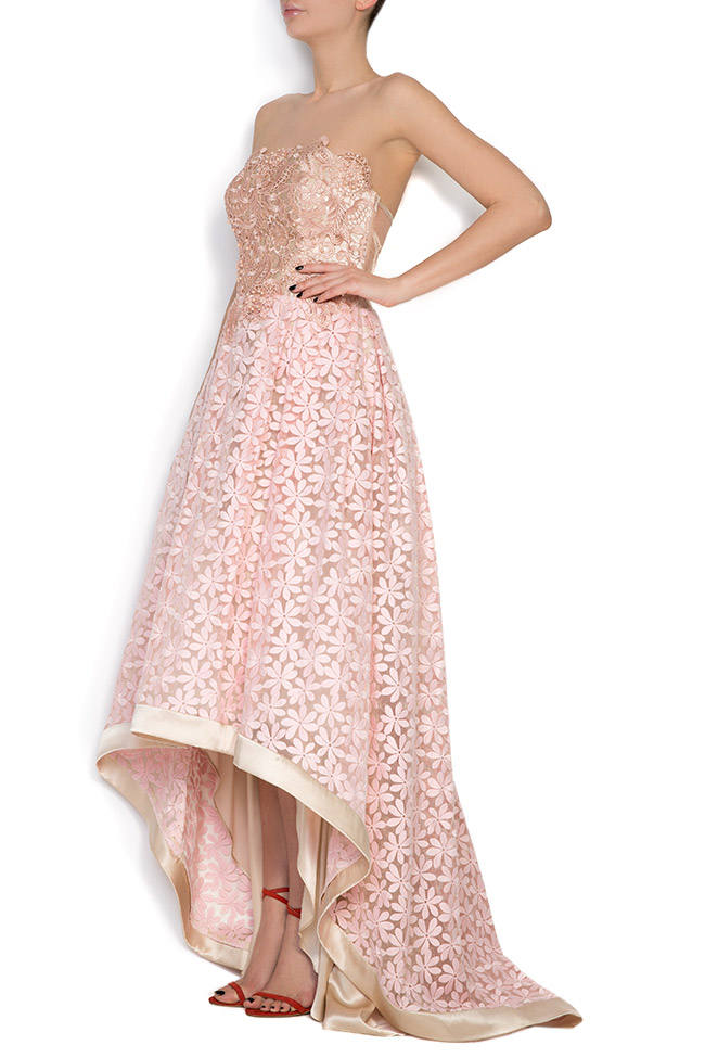 Pinky embroidered asymmetric silk-organza midi dress Elena Perseil image 1