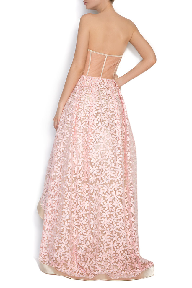 Pinky embroidered asymmetric silk-organza midi dress Elena Perseil image 2