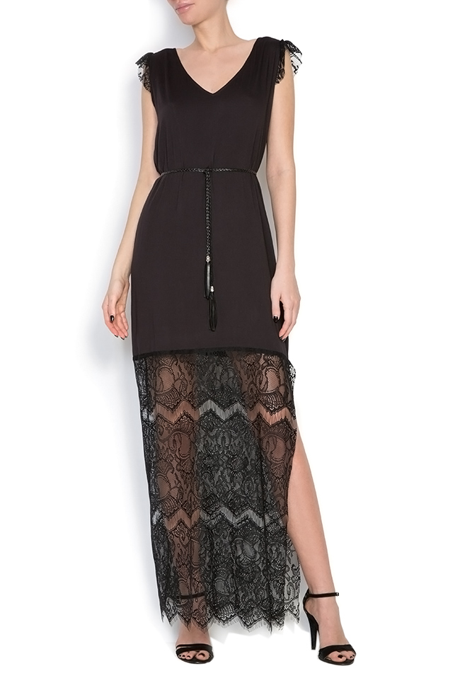 Belted lace-trimmed silk jersey dress Elena Perseil image 0