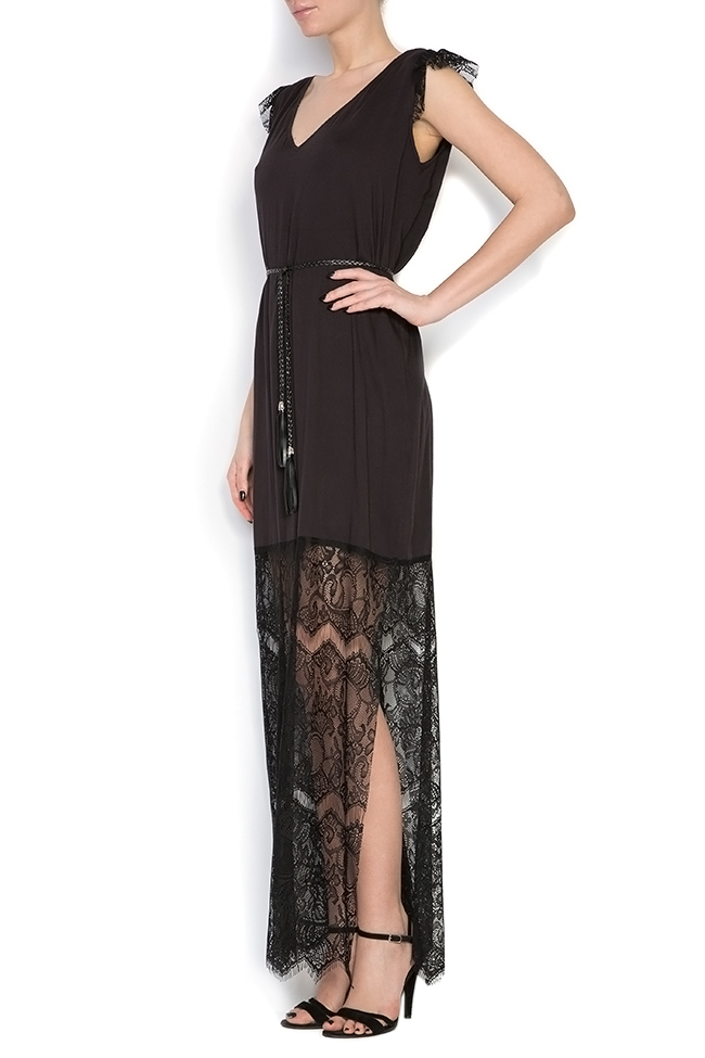 Belted lace-trimmed silk jersey dress Elena Perseil image 1
