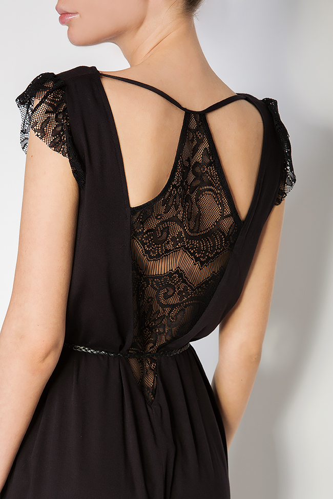 Belted lace-trimmed silk jersey dress Elena Perseil image 3