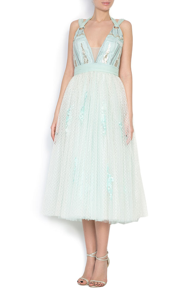 Embroidered silk-blend tulle organza midi dress Elena Perseil image 0