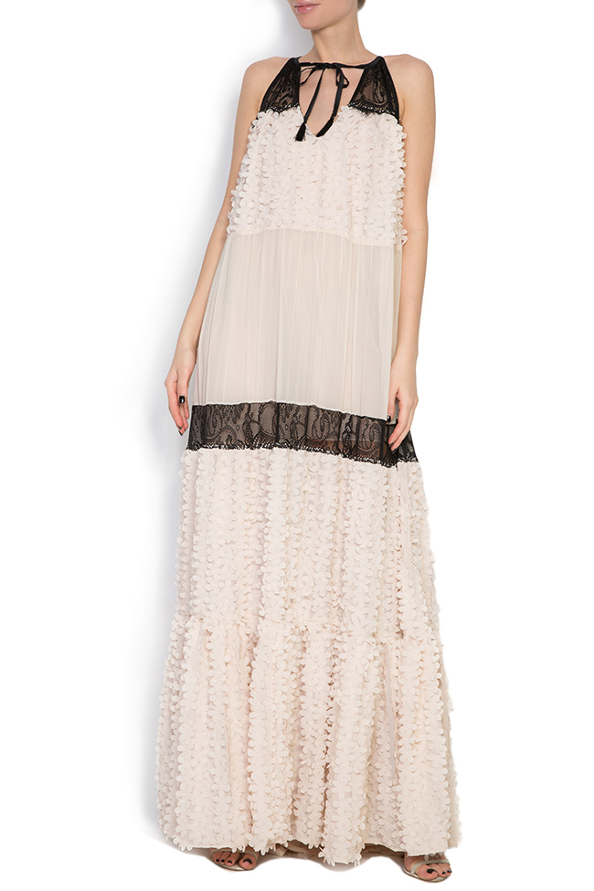 Embellished silk-chiffon and lace gown Elena Perseil image 0