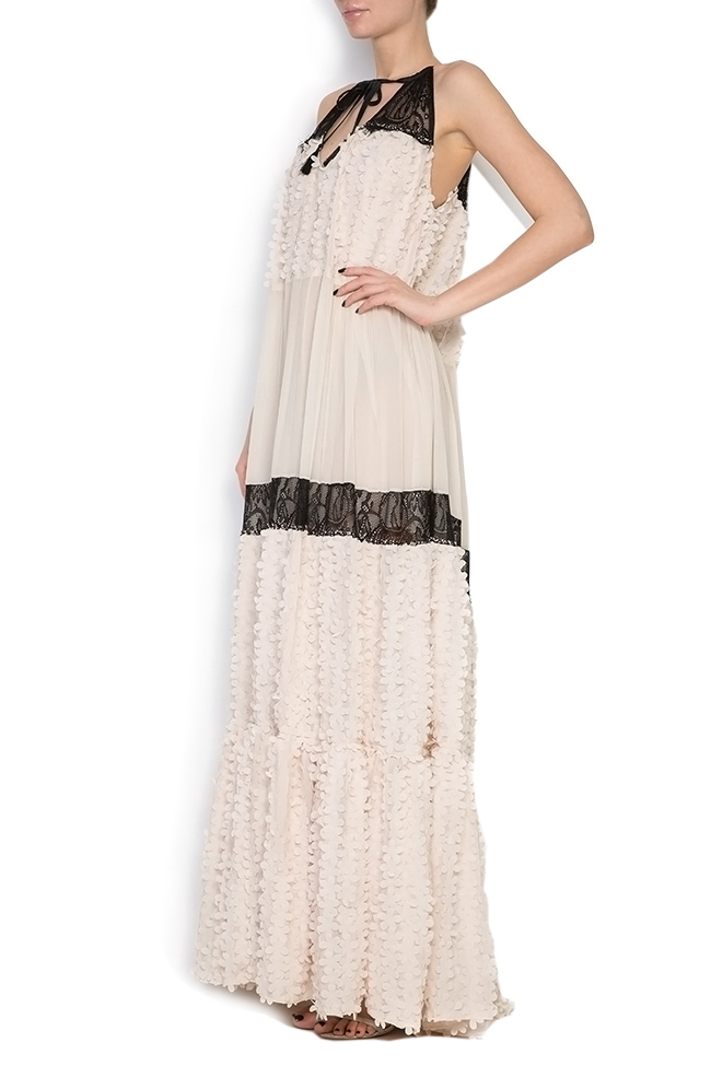 Embellished silk-chiffon and lace gown Elena Perseil image 1