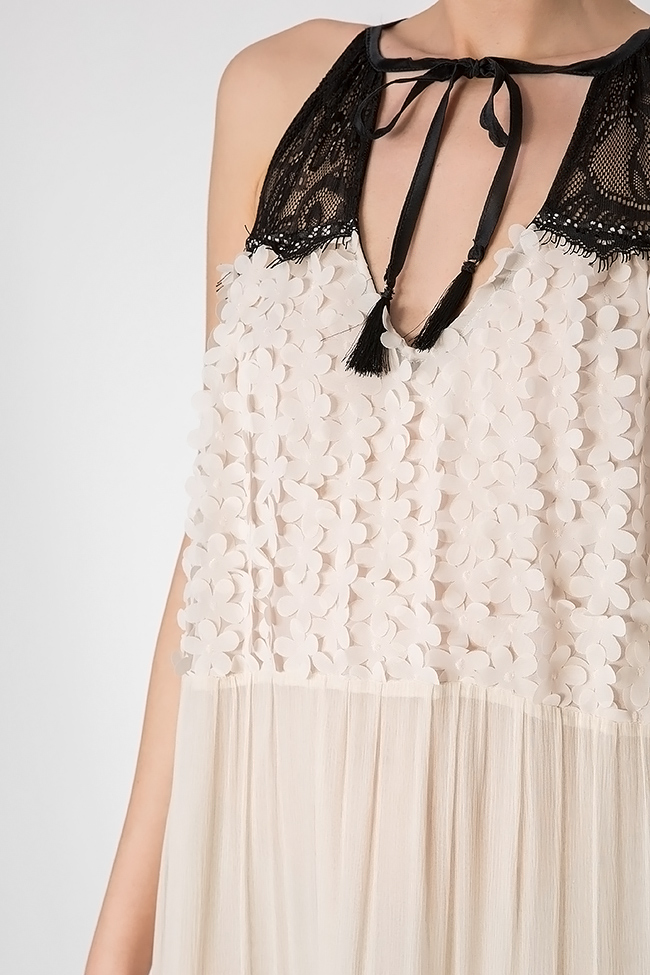 Embellished silk-chiffon and lace gown Elena Perseil image 3