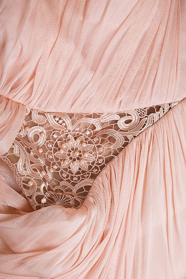 Robe en soie et tulle, avec insertions de dentelle macramé  Elena Perseil image 4