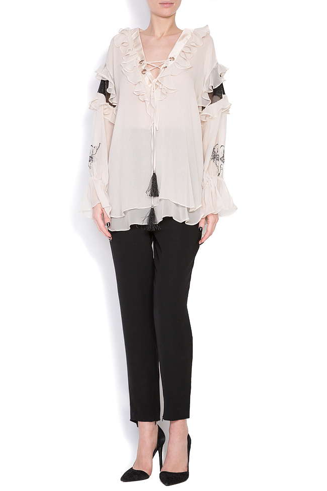 Helene embroidered silk tulle blouse Elena Perseil image 0