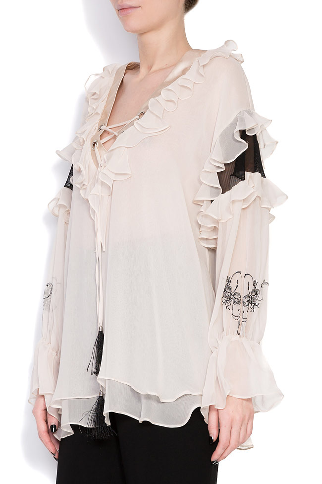Helene embroidered silk tulle blouse Elena Perseil image 1