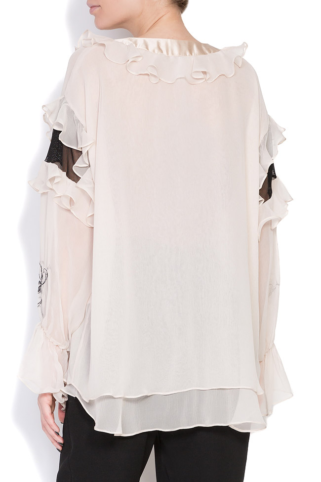 Helene embroidered silk tulle blouse Elena Perseil image 2