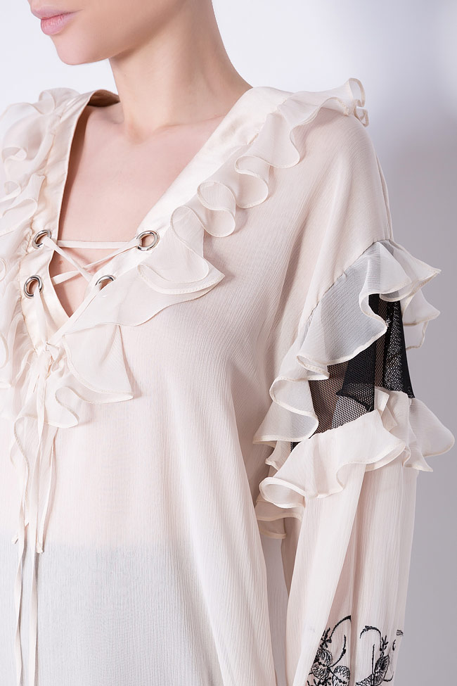 Helene embroidered silk tulle blouse Elena Perseil image 3