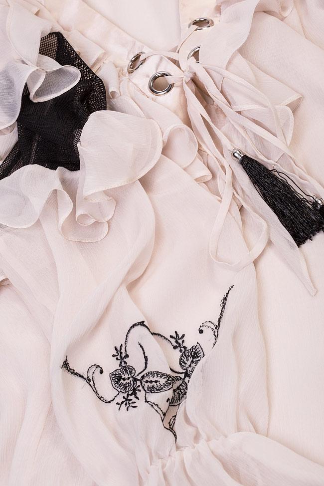 Blouse en soie et tulle, brodée à la main, Helene Elena Perseil image 4