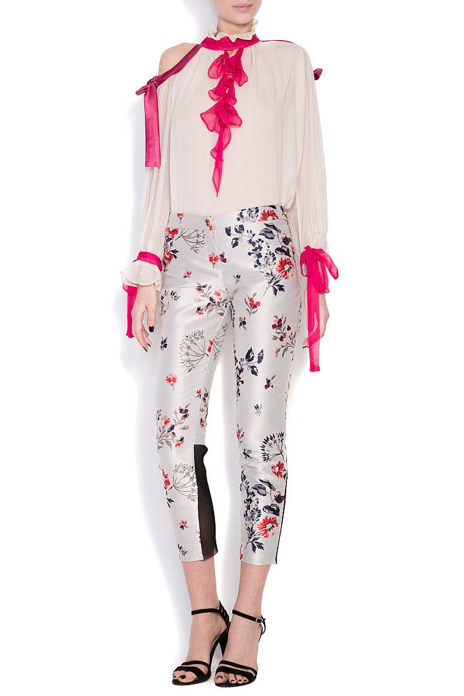 Floral-print silk taffeta pants Elena Perseil image 0