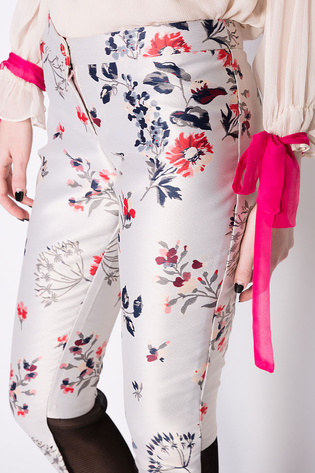 Floral-print silk taffeta pants Elena Perseil image 3