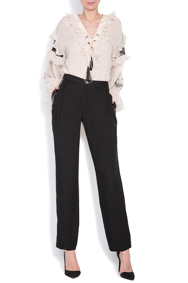 Sequin-trimmed wool silk-blend pants Elena Perseil image 0