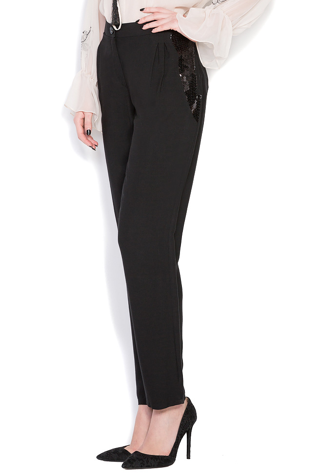 Sequin-trimmed wool silk-blend pants Elena Perseil image 1
