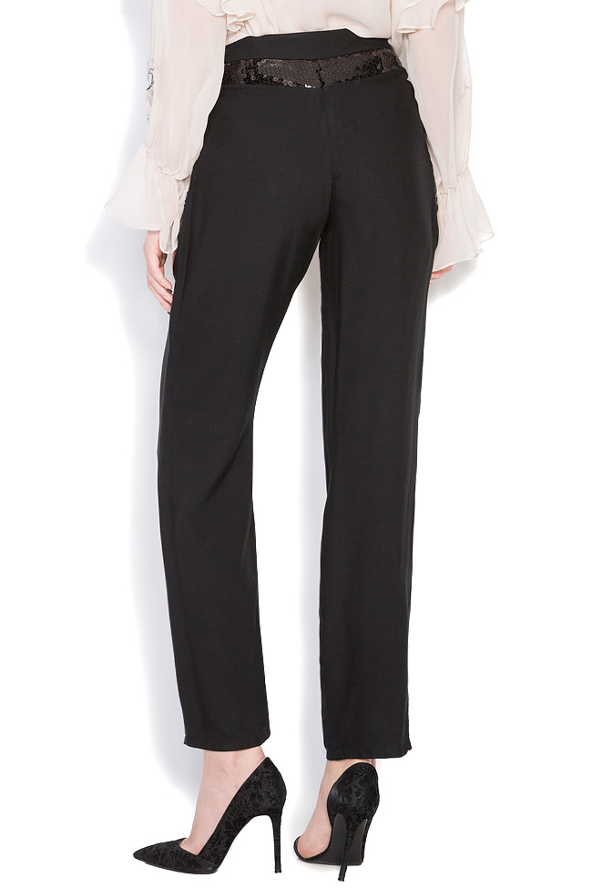 Sequin-trimmed wool silk-blend pants Elena Perseil image 2