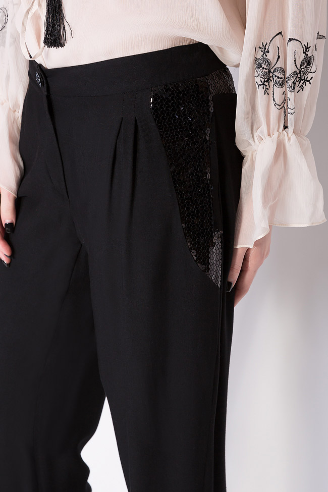 Sequin-trimmed wool silk-blend pants Elena Perseil image 3