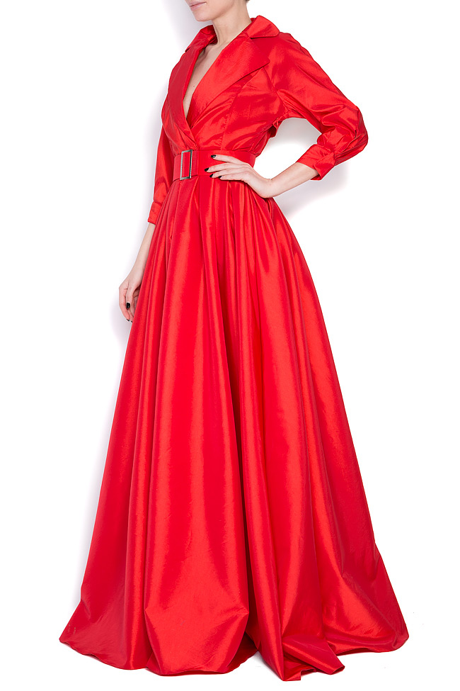 Belted taffeta maxi dress Cloche image 1