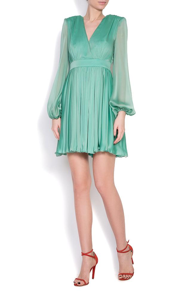 Pleated silk-chiffon mini dress Cloche image 0