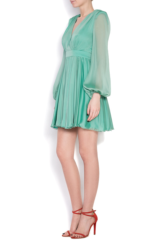 Pleated silk-chiffon mini dress Cloche image 1