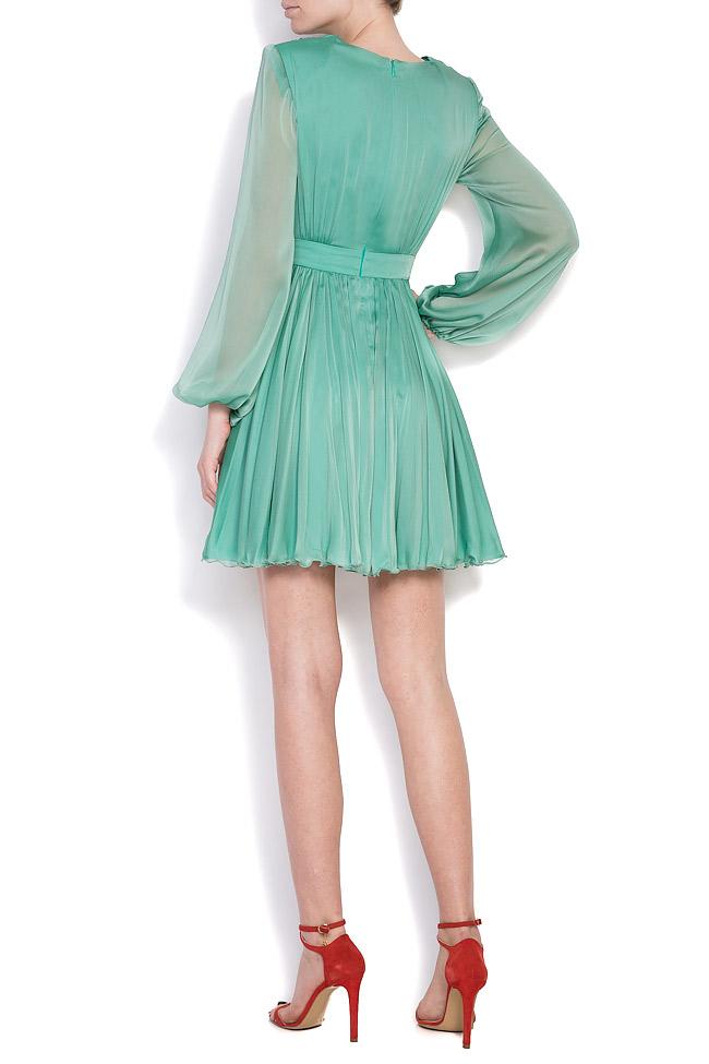Pleated silk-chiffon mini dress Cloche image 2