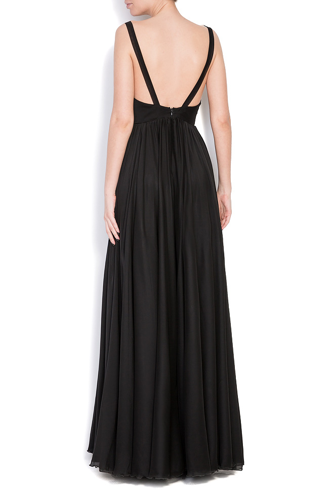 Open back silk-blend gown Cloche image 2