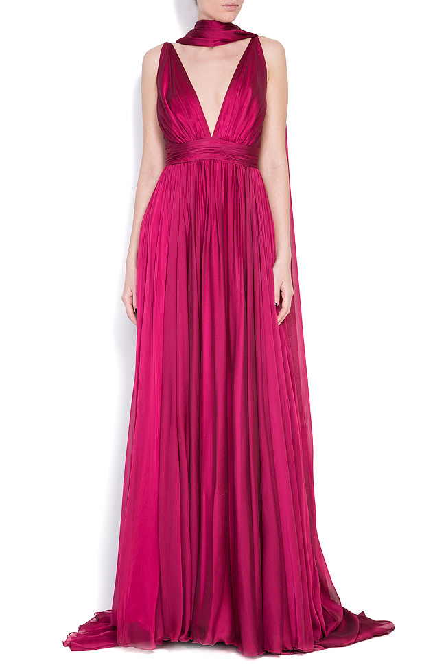Open-back silk chiffon gown with detachable scarf Cloche image 0