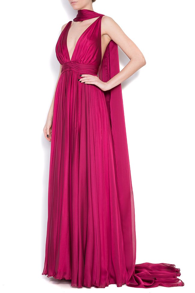 Open-back silk chiffon gown with detachable scarf Cloche image 1