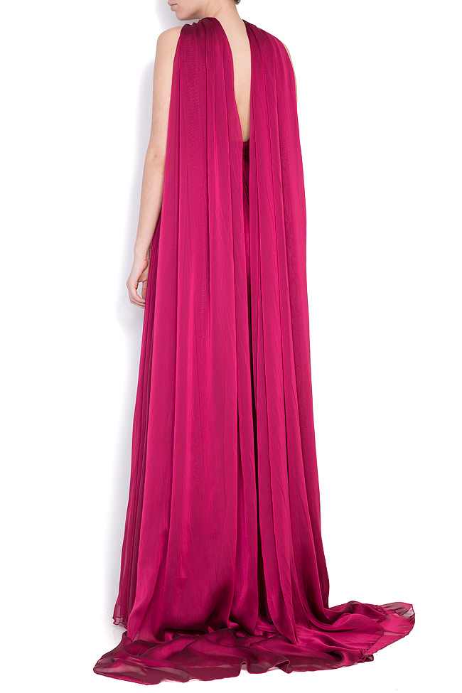Open-back silk chiffon gown with detachable scarf Cloche image 2