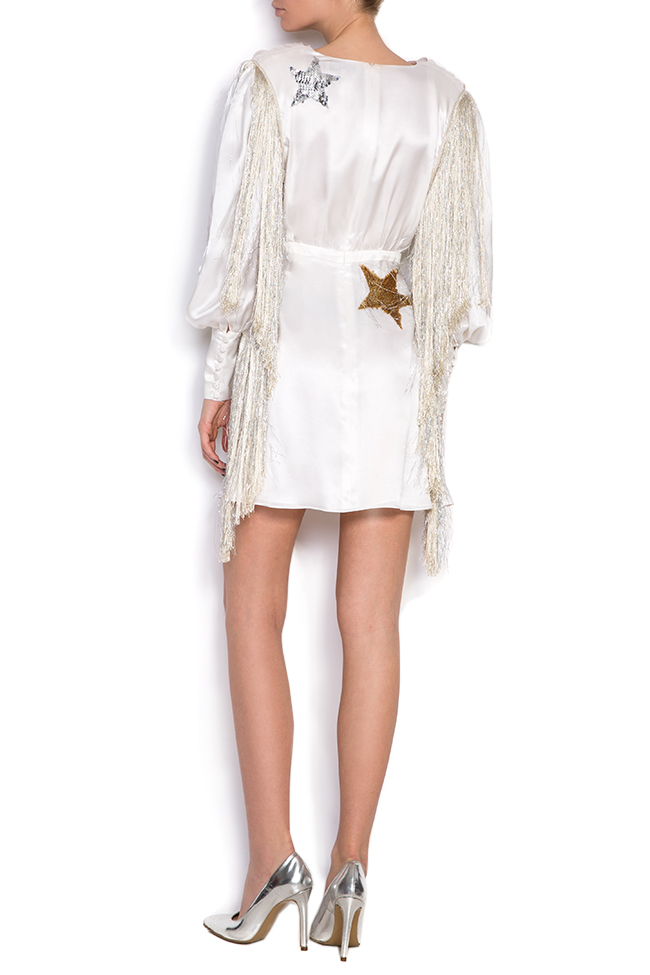 Embellished fringed silk midi dress Manuri image 2