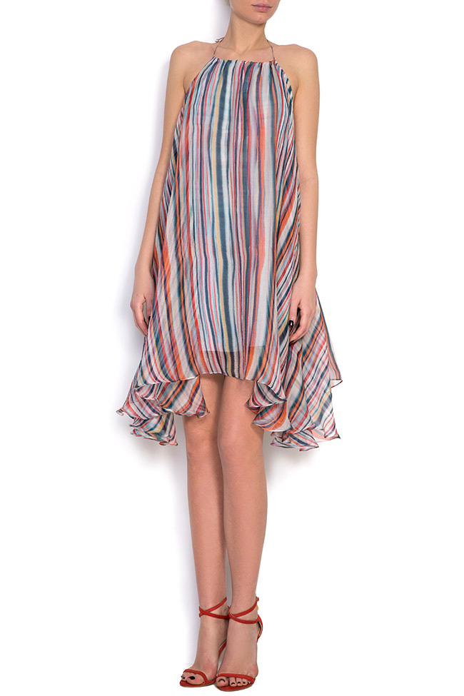 Wind asymmetric silk mini dress Manuri image 0