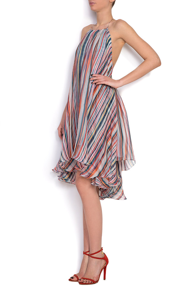Wind asymmetric silk mini dress Manuri image 1
