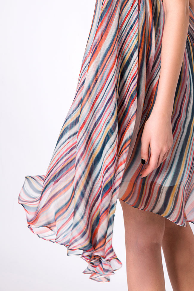 Wind asymmetric silk mini dress Manuri image 3