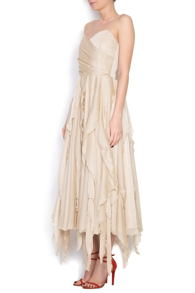 Asymmetric silk-blend midi dress Cloche image 1