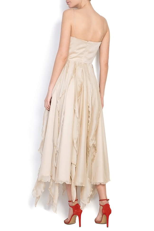 Asymmetric silk-blend midi dress Cloche image 2