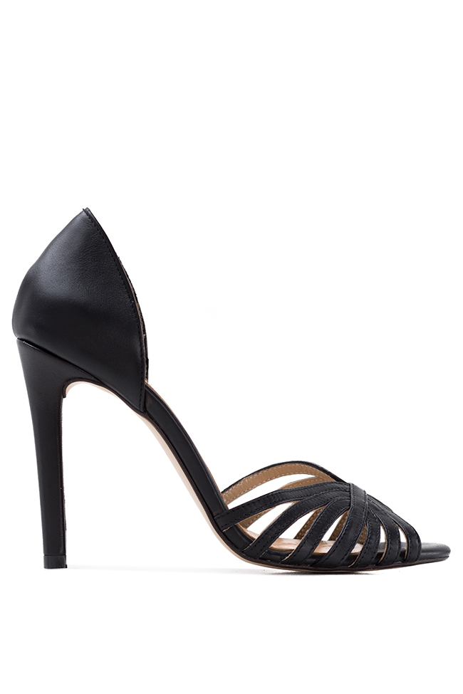 Black Nicole leather sandals Hannami image 0