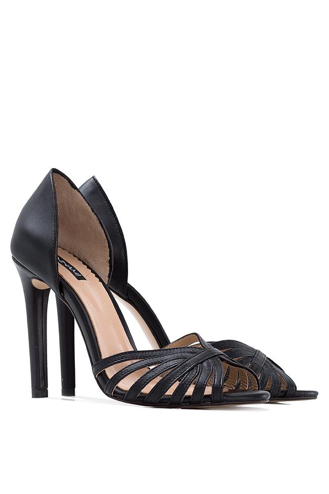 Black Nicole leather sandals Hannami image 1