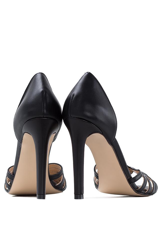 Sandale din piele Black Nicole Hannami imagine 2