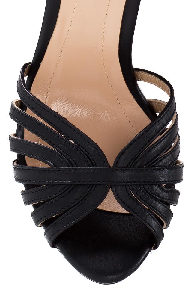 Sandale din piele Black Nicole Hannami imagine 3