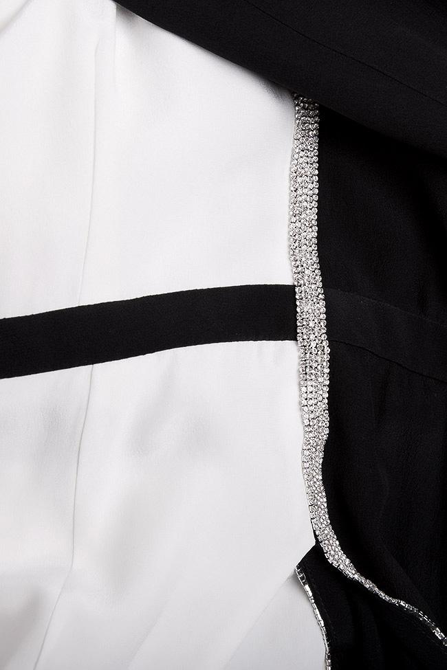 Rochie din crep de matase cu aplicatii din cristale brodate manual Manuri imagine 4
