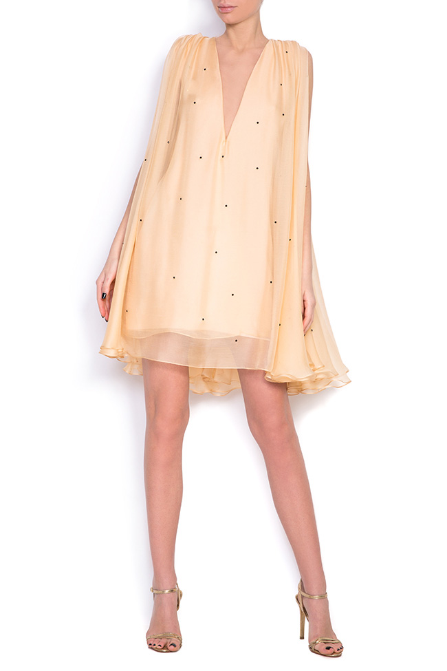 Embellished cape-effect silk mini dress Manuri image 0