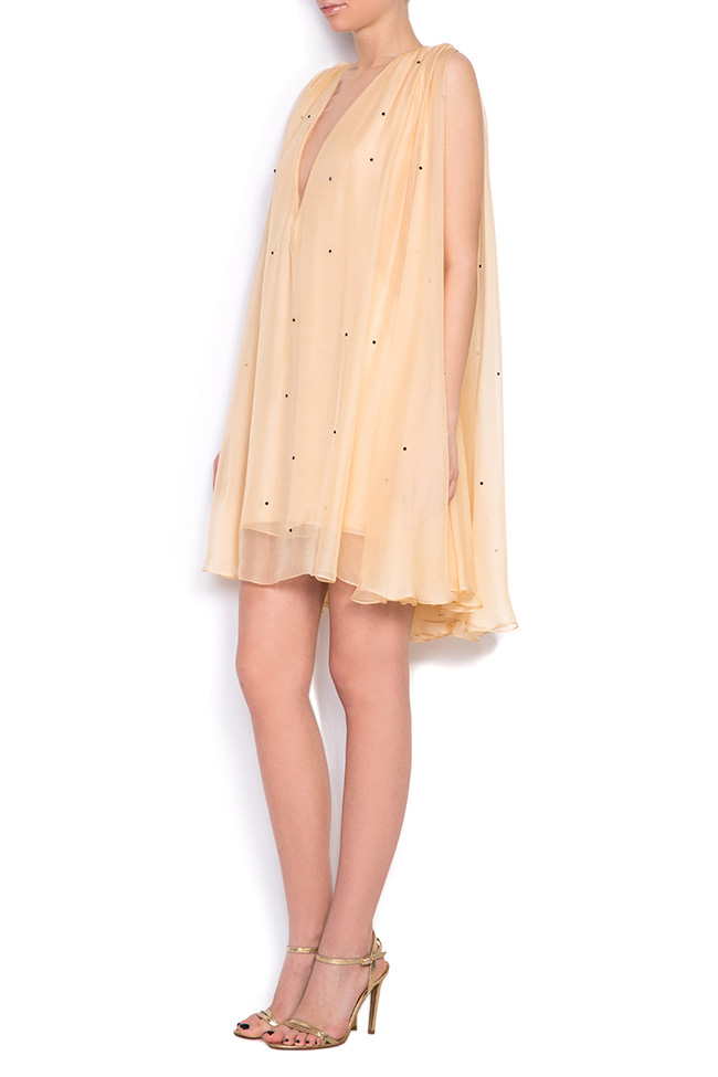 Embellished cape-effect silk mini dress Manuri image 1