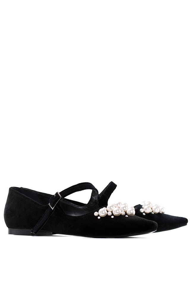 Embellished velvet point-toe flats Ana Kaloni image 1