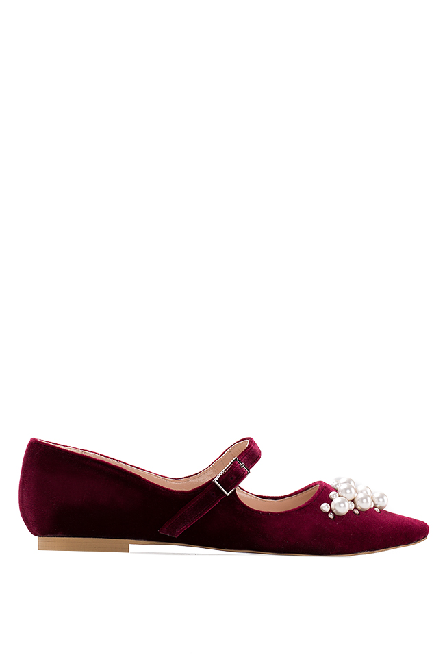Embellished velvet point-toe flats Ana Kaloni image 0