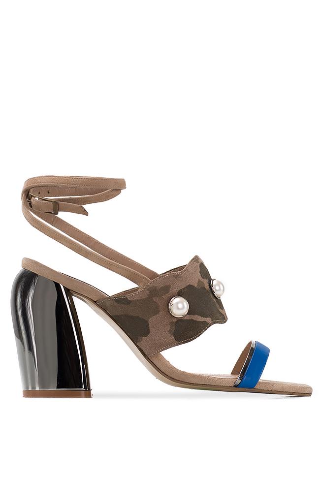 Embellished camouflage-print suede sandals Ana Kaloni image 0